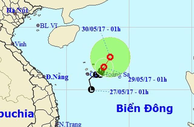 Vị trí và hướng di chuyển của vùng áp thấp nhiệt đới.