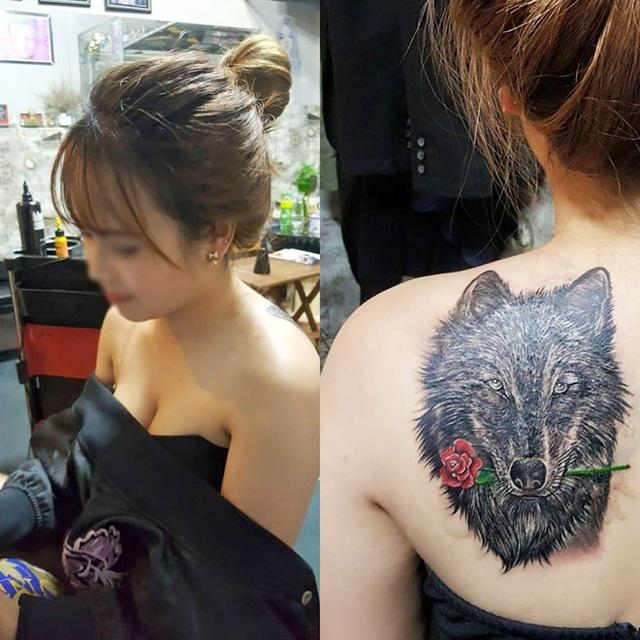 Cô gái 26 tuổi xăm hình đầu sói kín một bả vai