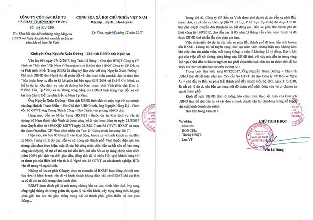 Công văn của Công ty CP đầu tư và Phát triển Miền Trung gửi UBND tỉnh Nghệ An phản hồi việc đối xử không công bằng khiến công ty mỗi tháng lỗ 1,5 tỷ đồng do không có khách