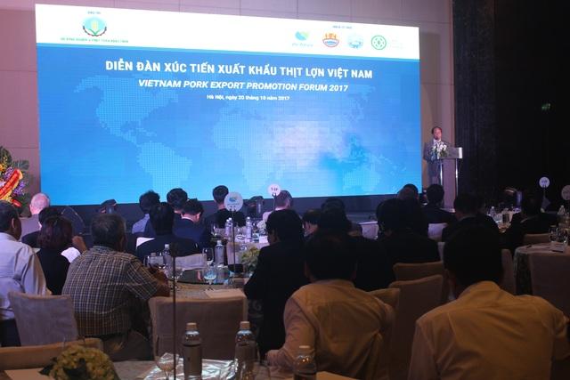 Diễn đàn xúc tiến xuất khẩu thịt lợn Việt Nam được tổ chức sáng nay (20/10) tại Hà Nội. (Ảnh: Hồng Vân)