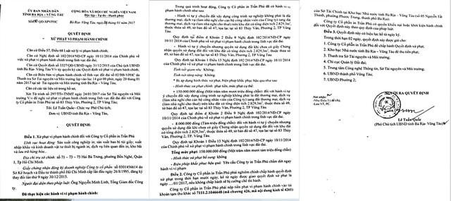 Quyết định xử phạt vi phạm hành chính (XPVPHC) số 190/QĐ-XPVPHC ngày 24/1 của Chủ tịch UBND tỉnh Bà Rịa Vũng Tàu đối với Công ty CP In Trần Phú.
