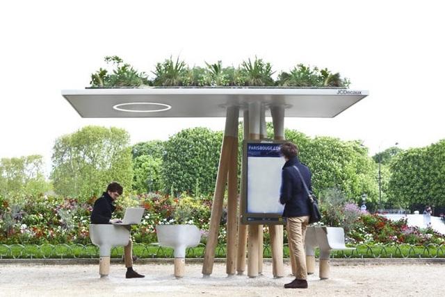 Một điểm sử dụng Wifi công cộng có thiết kế hết sức thân thiện với thiên nhiên.