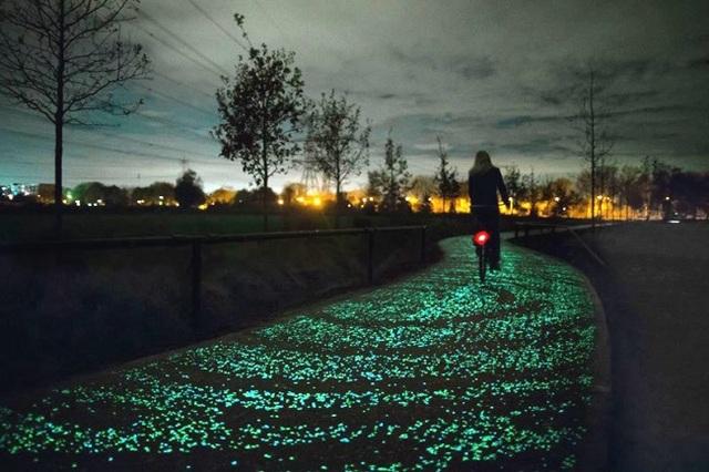 Đường dành cho người đi xe đạp trong công viên được rải thêm lớp đá dạ quang, vừa tạo nên khung cảnh đẹp như tranh vẽ, vừa giúp mọi người có thêm ánh sáng để di chuyển.