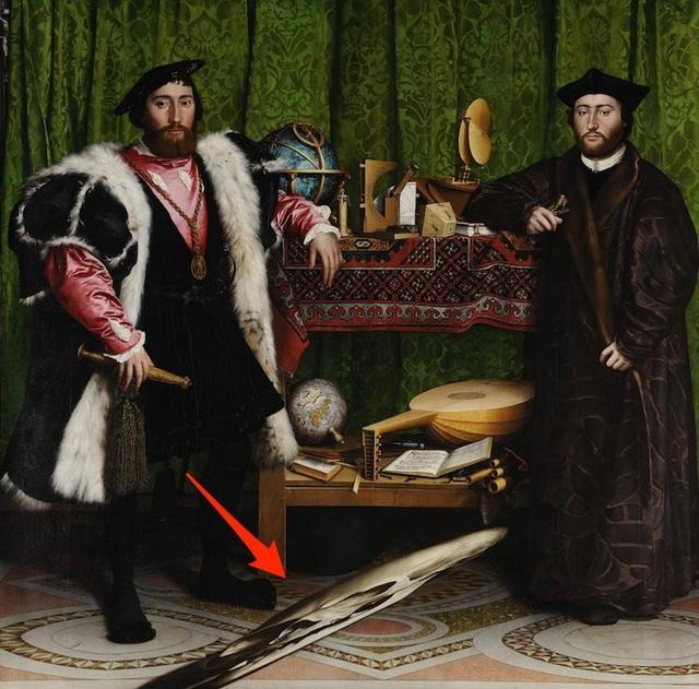 """Bức """"Các đại sứ"""" (vẽ năm 1533) do danh họa người Đức Hans Holbein thực hiện, có ẩn chứa hình một chiếc… đầu lâu."""