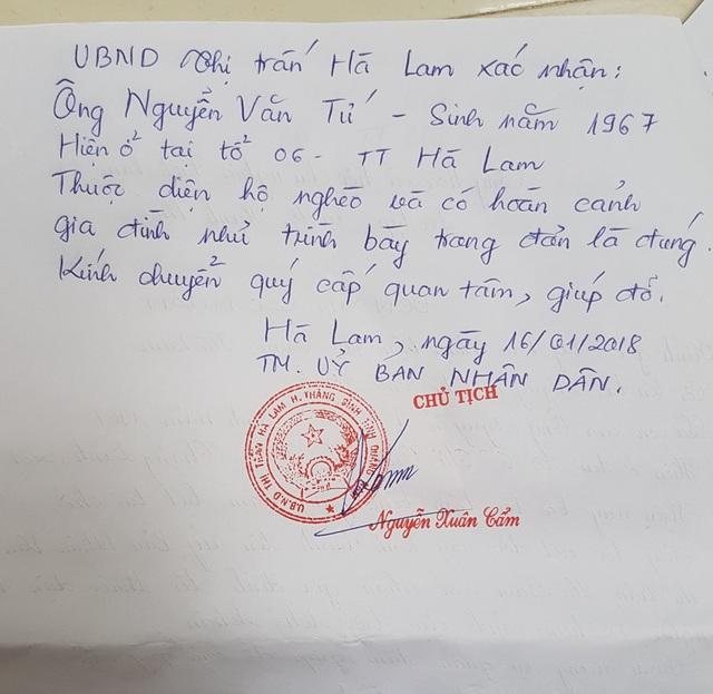 Xác nhận hộ nghèo của em Thảo Linh được thị trấn Hà Lam chứng nhận