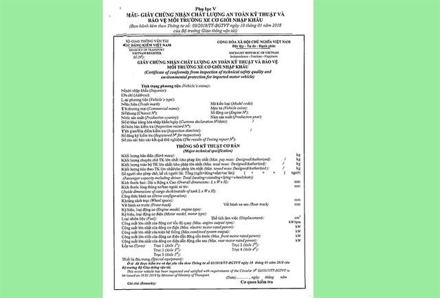 Mẫu chứng nhận kiểu loại xe quy định trong Thông tư 03/2018/TT-BGTVR