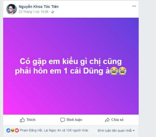 """Trước đó, nữ ca sĩ Tóc Tiên cũng từng công khai sẽ """"hôn Bùi Tiến Dũng"""" nếu gặp mặt."""