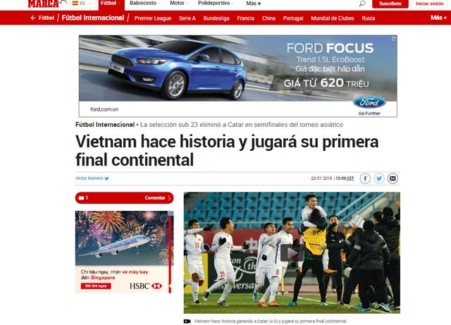 Bài viết trên tờ Marca về U23 Việt Nam
