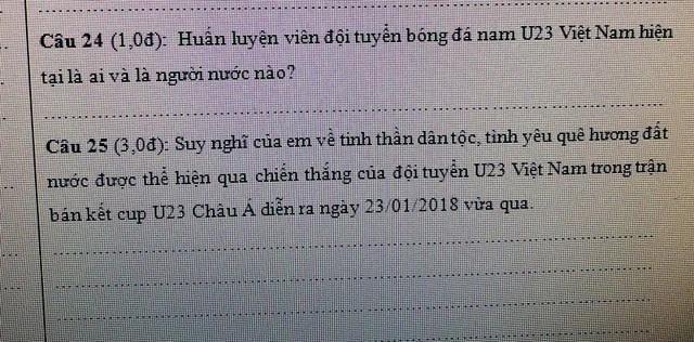 Những câu hỏi về đội tuyển U23 Việt Nam được lồng ghép vào cuộc thi