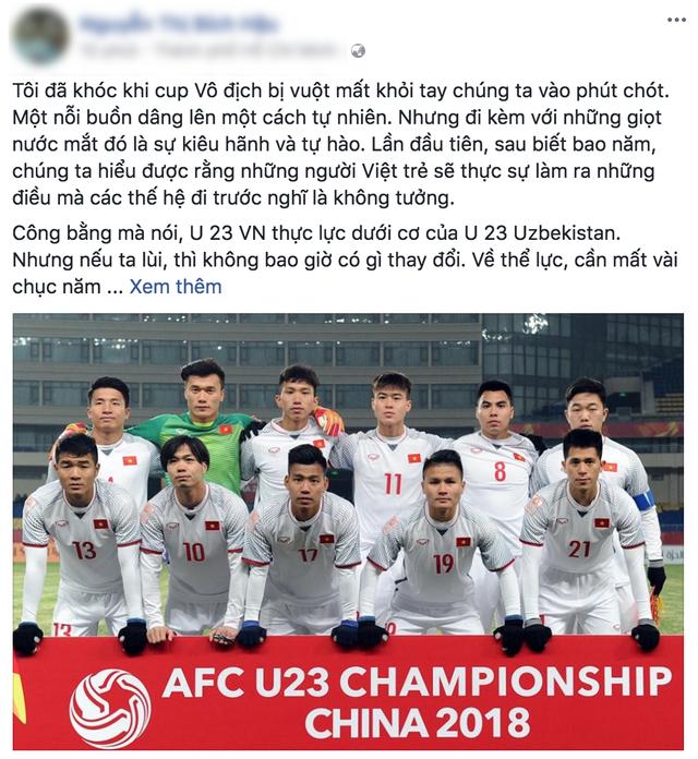 Bên cạnh nỗi buồn và sự kiêu hãnh và tự hào của người hâm mộ dành cho U23 Việt Nam.