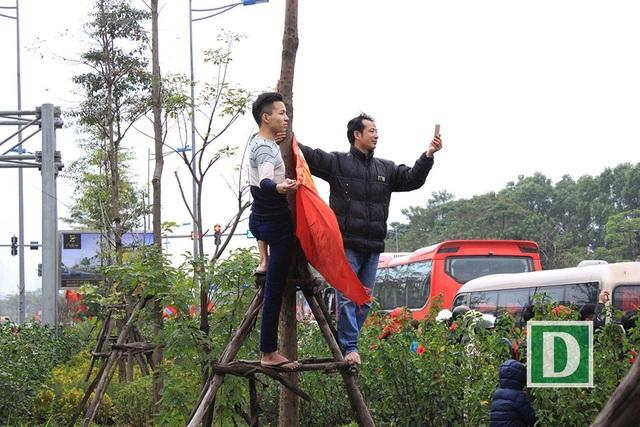 Trèo lên cây vẫy cờ, chụp ảnh.