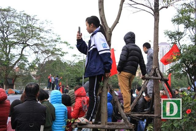 Một em bé cũng bất chấp nguy hiểm để trèo lên cây chụp ảnh.