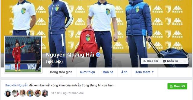Facebook của Nguyễn Quang Hải thu hút tới hơn 800.000 lượt theo dõi.