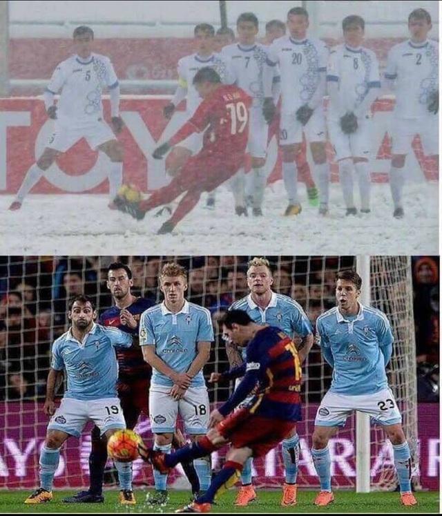 Động tác chạy đà và sút phạt của Quang Hải được ví von với động tác của Messi