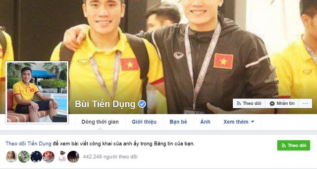 Facebook của Bùi Tiến Dụng, em trai Tiến Dũng cũng thu hút tới gần 500.000 lượt theo dõi.