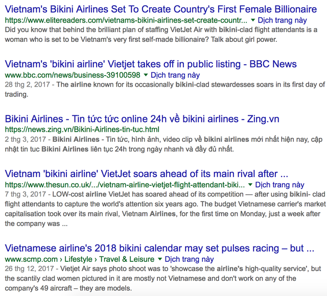 Vietjet Air xuất hiện trên các tờ báo nước ngoài thường được gọi là bikini airlines - hãng hàng không bikini.