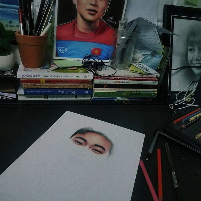 Chàng trai dành 12 tiếng vẽ chân dung đội trưởng Lương Xuân Trường - 1