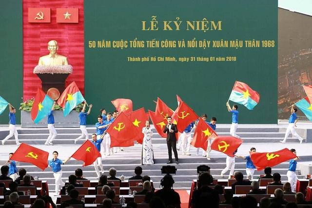 Lễ kỷ niệm 50 năm cuộc tổng tiến công và nổi dậy Xuân Mậu Thân 1968 được tổ chức tại hội trường Thống Nhất - trước kia là Dinh Độc Lập - một trong những trọng điểm tiến công của quân dân ta trong Tết Mậu Thân 1968