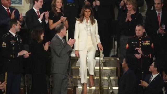 Đệ nhất phu nhân Mỹ Melania Trump một mình tới dự buổi Thông điệp Liên bang của Tổng thống Trump. (Ảnh: Getty)