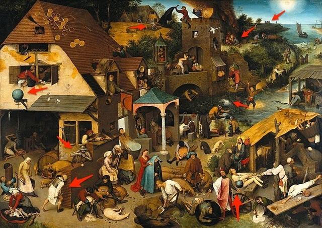 Thoạt nhìn, bức tranh được thực hiện bởi họa sĩ người Hà Lan Pieter Brugel tưởng như khắc họa chi tiết một con phố đông đúc, nhưng kỳ thực, có nhiều điều ẩn chứa trong tranh hơn thế.
