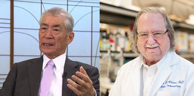 Hai nhà khoa học James P. Allison (phải) và Tasuku Honjo (Ảnh: Youtube)