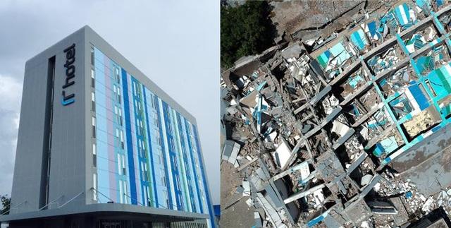 Khách sạn Roa-Roa trước và sau thảm họa động đất/sóng thần (Ảnh: Trip Advisor, AFP)