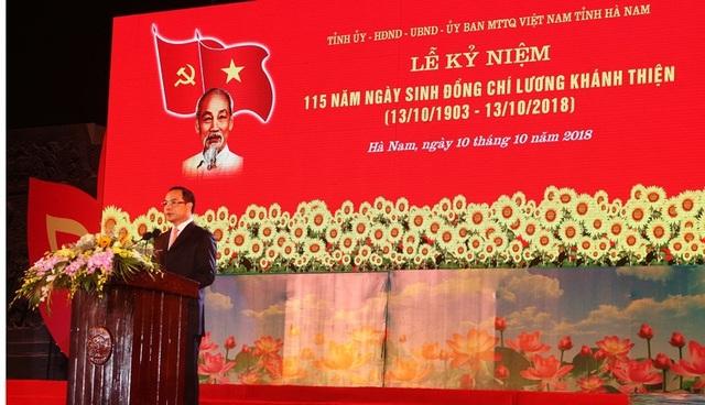 Ông Nguyễn Đình Khang, Bí thư tỉnh ủy tỉnh Hà Nam phát biểu diễn văn