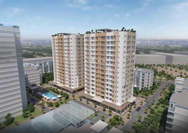 Hai chung cư thương mại 15 tầng đã được đưa vào sử dụng và hình thành khu dân cư đông đúc