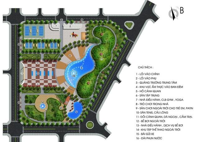 Tiện ích nội khu với công viên cây xanh và quảng trường