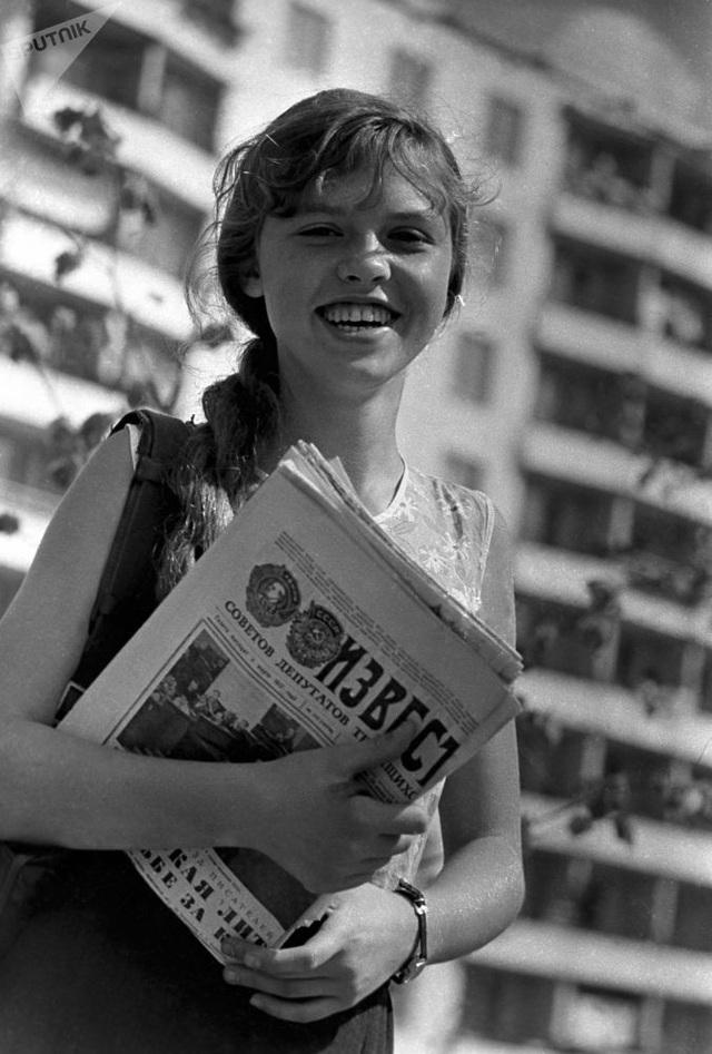 Irina Skvortsova, nữ nhân viên giao báo ở Moscow, Nga.