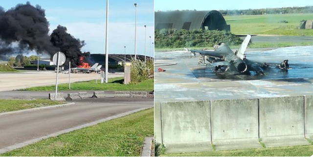 Máy bay F-16 bị thiêu rụi sau vụ nổ. (Ảnh: Twitter)
