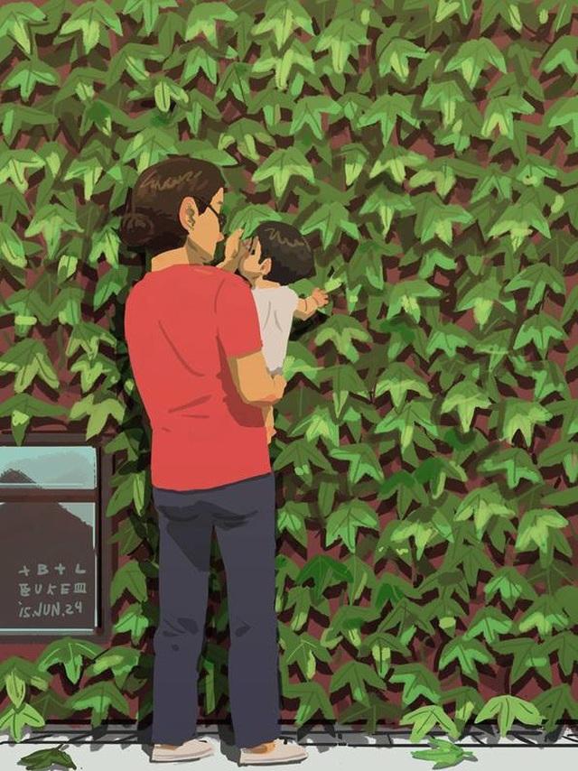 """Mọi thứ đều mới mẻ với con, ngay cả những chiếc lá Bộ tranh đầy cảm động về tình cha con """"gây sốt"""" cư dân mạng"""