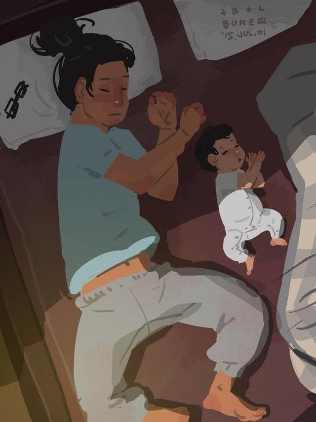 """Cha và con với những kiểu ngủ giống nhau Bộ tranh đầy cảm động về tình cha con """"gây sốt"""" cư dân mạng"""