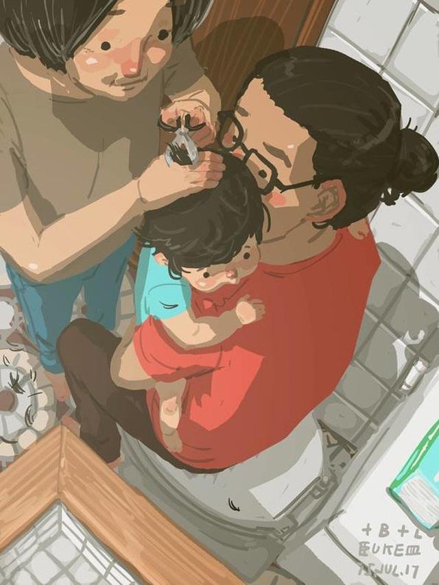 """Ôm chặt mỗi lần cắt tóc cho con Bộ tranh đầy cảm động về tình cha con """"gây sốt"""" cư dân mạng"""