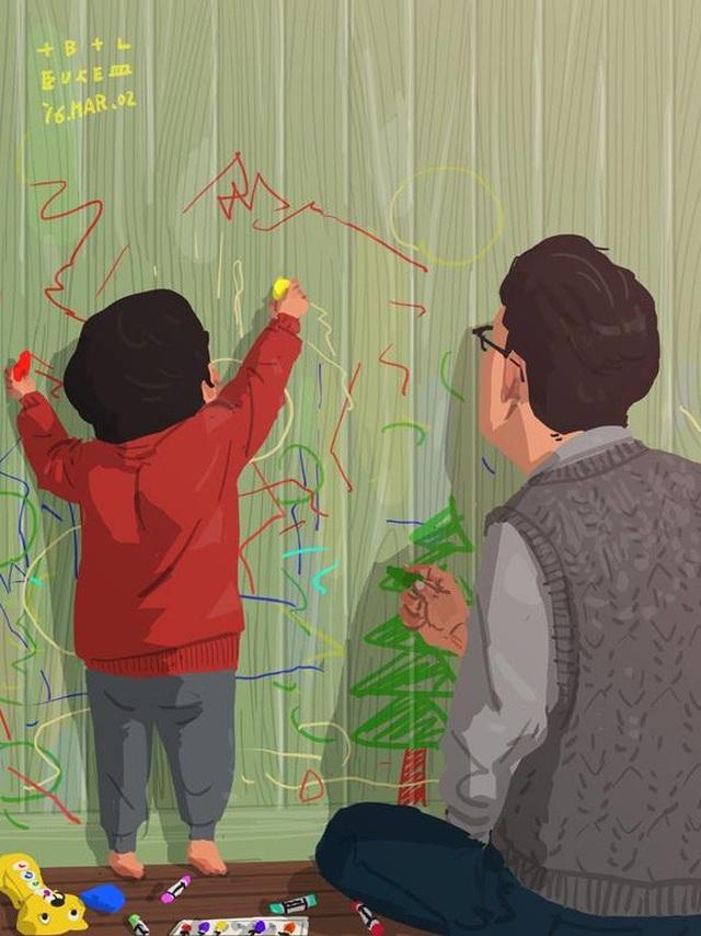 """Cùng con vẽ lên tường Bộ tranh đầy cảm động về tình cha con """"gây sốt"""" cư dân mạng"""