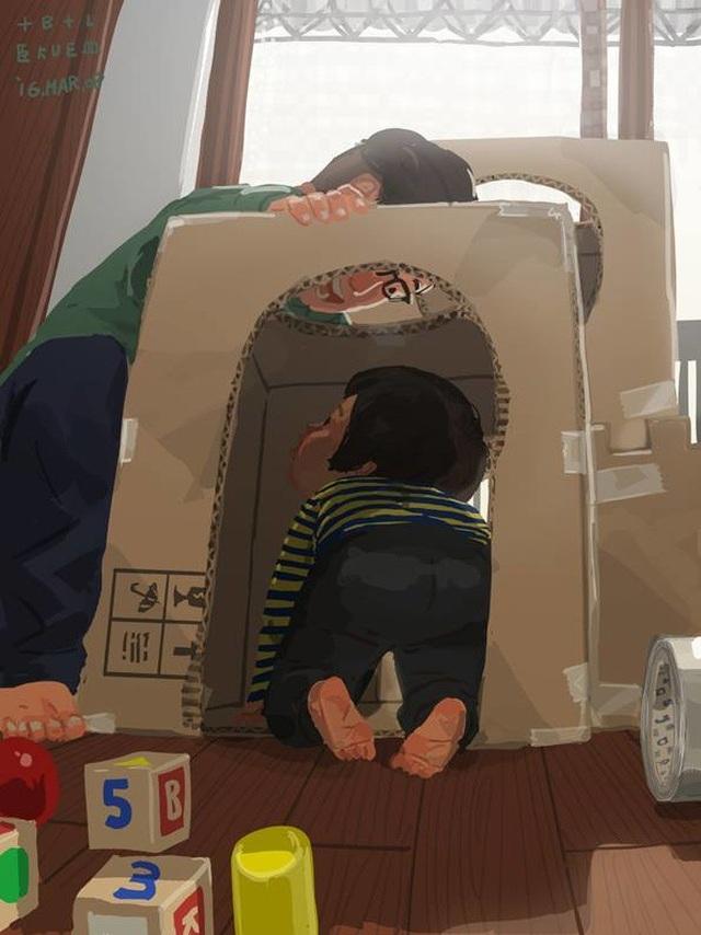 """Xây cho con một căn nhà riêng từ bìa giấy carton Bộ tranh đầy cảm động về tình cha con """"gây sốt"""" cư dân mạng"""