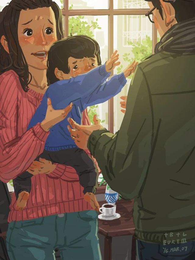 """Với con, cha là quan trọng nhất và luôn muốn được cha ôm Bộ tranh đầy cảm động về tình cha con """"gây sốt"""" cư dân mạng"""