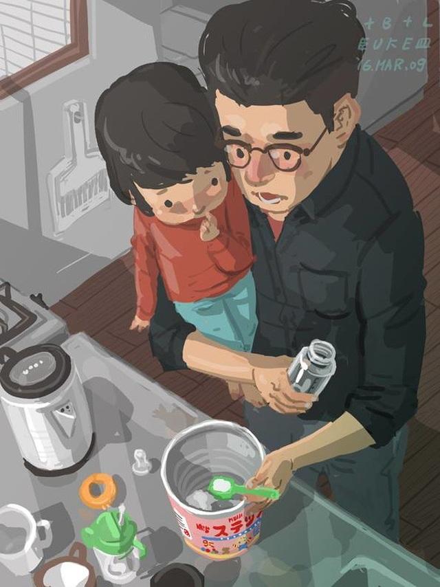 """Khoảnh khắc nhận ra con đã uống hết sữa Bộ tranh đầy cảm động về tình cha con """"gây sốt"""" cư dân mạng"""