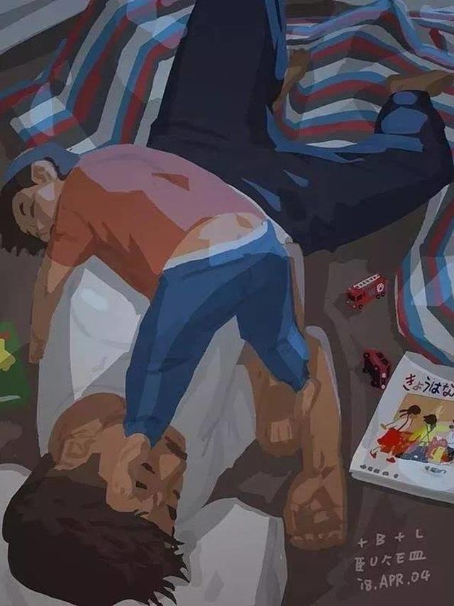 """Sau những giây phút chơi đùa, cả hai sẵn sàng lăn ra ngủ cùng nhau Bộ tranh đầy cảm động về tình cha con """"gây sốt"""" cư dân mạng"""
