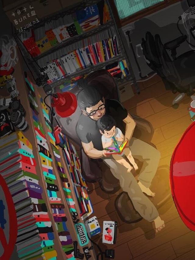 """Đọc sách cũng là một cách vừa chơi, vừa học của cha và con Bộ tranh đầy cảm động về tình cha con """"gây sốt"""" cư dân mạng"""