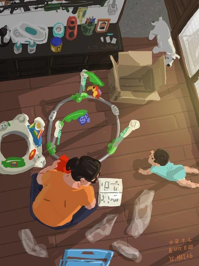 """Lắp ráp một món đồ chơi mới trước sự """"giám sát"""" của con Bộ tranh đầy cảm động về tình cha con """"gây sốt"""" cư dân mạng"""