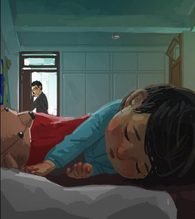 """Dù con đã ngủ say, cha vẫn thường xuyên kiểm tra để đảm bảo không có chuyện gì xảy ra Bộ tranh đầy cảm động về tình cha con """"gây sốt"""" cư dân mạng"""