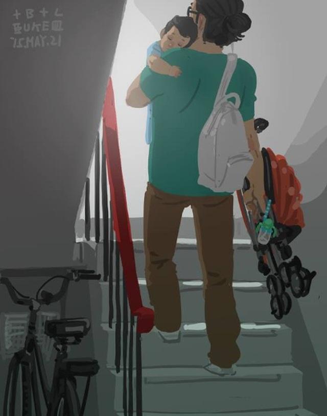 """Trở về nhà sau một ngày đi chơi Bộ tranh đầy cảm động về tình cha con """"gây sốt"""" cư dân mạng"""