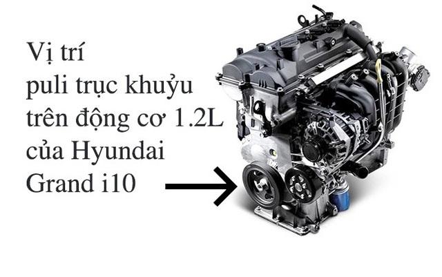 Vị trí bu-lông bị gãy trên Hyundai Grand i10.