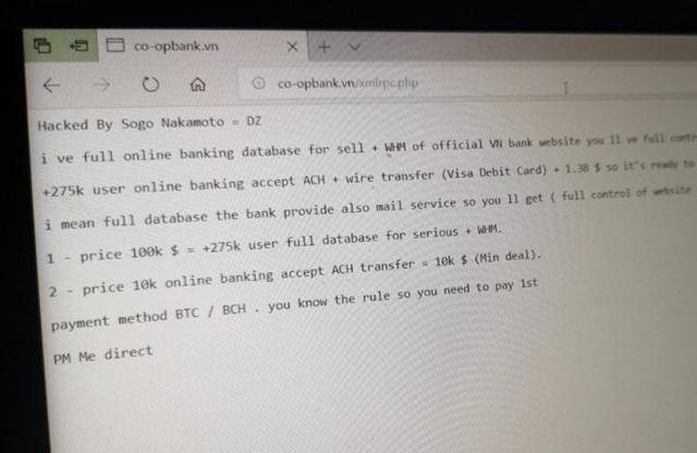 Hình ảnh hacker để lại trên giao diện website của Ngân hàng Hợp tác xã. (Nguồn: Zing)