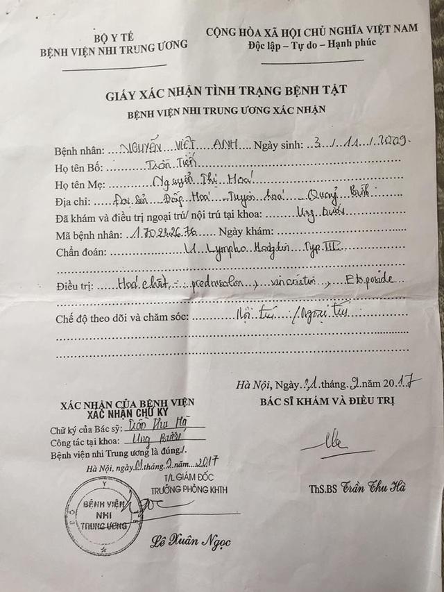 Giấy chứng nhận bệnh tật của bé Việt Anh.