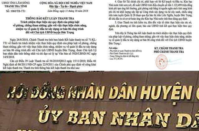 Thanh tra tỉnh Lâm Đồng vừa có thông báo kết luận thanh tra trách nhiệm hực hiện các quy định của pháp luật về phòng, chống tham nhũng; gắn với việc hực hiện chức năng, nhiệm vụ về quản lý đầu tư xây dựng cơ bản 6 công trình đối với Chủ tịch UBND huyện Đức Trọng.