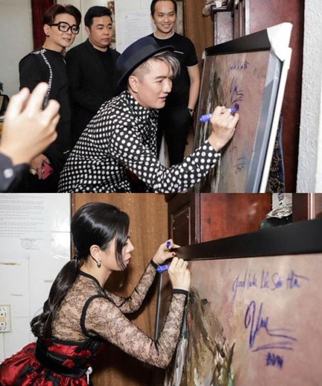 Đàm Vĩnh Hưng và Lệ Quyên nhận nhiều ý kiến trái chiều khi ký tên lên bức tranh được bán đấu giá.