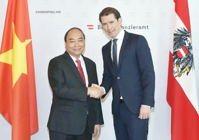 Thủ tướng Nguyễn Xuân Phúc và Thủ tướng Áo Sebastian Kurz ( Ảnh: VGP)