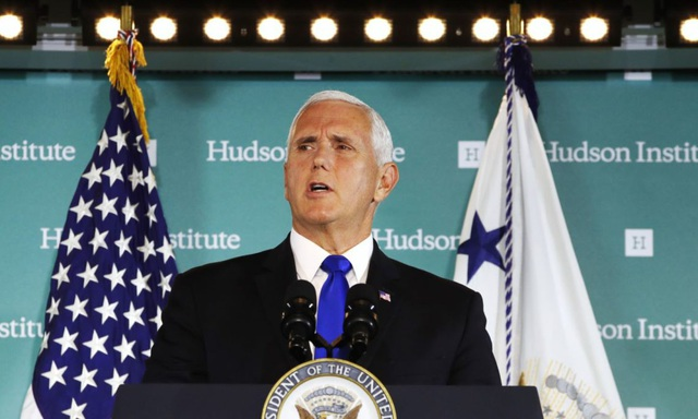 Phó Tổng thống Mỹ Mike Pence chỉ trích Trung Quốc trong bài phát biểu hôm 4/10. (Ảnh: Reuters)